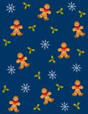 Tileable Gingerbread Men 2. A background pattern featuring tileable gingerbread cookies wearing bows with white snowflakes and holly leaves on blue Stock Photos