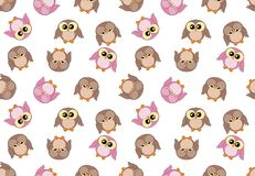 Tileable girlish pattern with cute owls on white. Background stock illustration