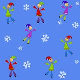 Tileable Kids Snowflakes Stock Photo