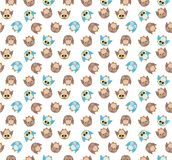 Tileable pattern with cute blue and brown owls on white Royalty Free Stock Photos