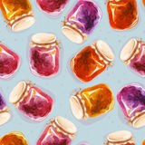 Tileable pattern of different jam-jars. Watercolor illustration. Seamless pattern of different jam-jars Royalty Free Stock Photography