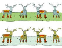 Tileable Reindeer Border Stock Photo