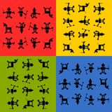 Tileable robots silhouetts pattern Royalty Free Stock Images
