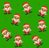 Tileable Santa Background 2. A tileable backgroun pattern featuring  african american santa claus and holly leaves on green Stock Photos