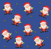 Tileable Santa Background. A tileable backgroun pattern featuring  Santa Claus and holly leaves on blue Stock Photo