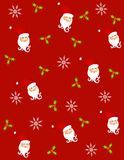 Tileable Santa Claus 3. A tileable backgroun pattern featuring  Santa Claus faces, snowflakes and holly leaves on red Stock Image