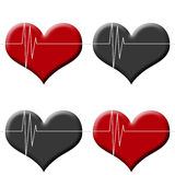 Heart beat monitor on red and black Stock Photos