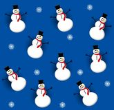 Tileable Snowman Blue 3 Stock Image