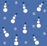 Tileable Snowman Blue. A tileable background featuring simple snowmen on blue background color with snowflakes Royalty Free Stock Images