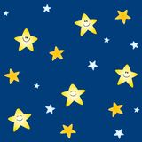 Tileable Stars Background. A background pattern featuring gold cartoon smiling stars set against blue - fully tileable