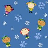 Tileable Winter Kids Stock Photo