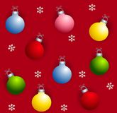 Tileable Xmas Ornaments. A tileable background featuring Christmas ornaments and snowflakes on red Stock Image