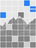 Tiled abstraction black and white with blue insets mountain land Royalty Free Stock Image
