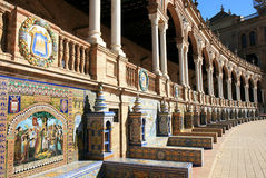 Tiled alcoves, Plaza de Espana, Seville, Spain Stock Images