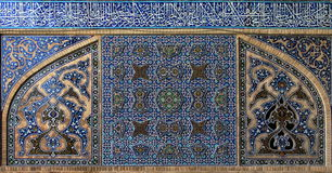 Tiled background in mosque. Isfahan. Iran. Tiled background, oriental ornaments. Jame Mosque isfahan. Iran royalty free stock image