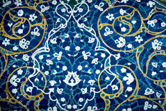Tiled background, oriental ornaments from Isfahan Mosque, Iran Stock Image