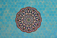 Tiled background, oriental ornaments. From Jame Mosque in Yazd, southern Iran on April 17, 2015. The 12th-century mosque is still in use today Royalty Free Stock Image