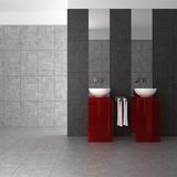 Tiled bathroom with double basin. Modern tiled bathroom with double basin and glass furniture Stock Image