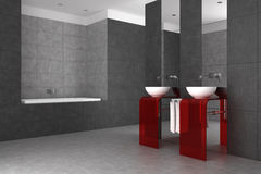 Tiled bathroom with double basin and bathtub. Modern tiled bathroom with double basin and bathtub Royalty Free Stock Images