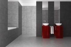 Tiled bathroom with double basin and bathtub. Modern tiled bathroom with double basin and bathtub Stock Photo