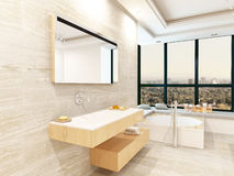 Tiled bathroom interior with fantastic jacuzzi Stock Image