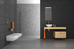 Tiled bathroom with wood furniture Royalty Free Stock Image