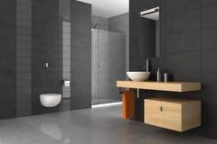 Tiled bathroom with wood furniture. Modern bathroom with gray tiles and wood furniture Royalty Free Stock Image