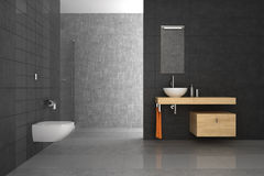 Tiled bathroom with wood furniture Stock Photography