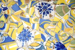 Tiled Bench in Parc Guell. Detail of a colorful tiled bench in Parc Guell, Barcelona, Spain Royalty Free Stock Photos