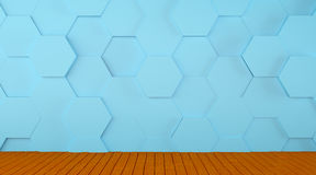 Tiled Blue Wall and Wooden Floor Background Stock Images