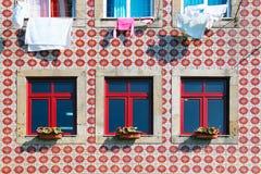 Tiled building facade in Lisbon royalty free stock image
