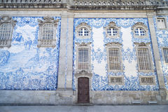 Tiled church in porto portugal Royalty Free Stock Photo