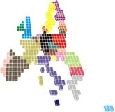 Tiled EU members. Contour of European Union made of colorful tiles Stock Image