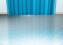 Tiled floor blue curtain Royalty Free Stock Photography
