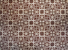 Tiled floor with brown Mediterranean decorations Royalty Free Stock Photo