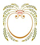 Frame of green leaves with laurel wreath with ribbon royalty free illustration