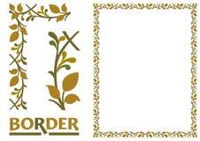 Tiled frame in plant leaves and flowers Framework Decorative Elegant style vector illustration