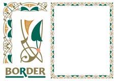 Tiled frame in plant leaves and flowers Framework Decorative Elegant style stock illustration