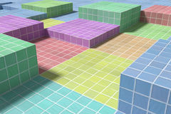 Tiled glazed floor made of volume cubes of different colors. 3d rendering of a close-up of tiled glazed floor made of volume cubes of different colors. From Stock Photos
