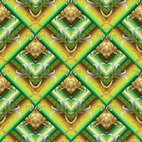 Tiled green 3d greek seamless pattern. Geometric abstract orname. Ntal vector background. Surface textured decorative design. Floral vintage gold ornaments with Stock Illustration
