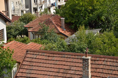 Tiled house roofs Royalty Free Stock Image