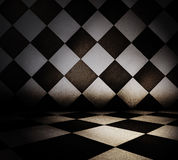 Tiled interior. Grungy tiled interior, dark background Royalty Free Stock Image