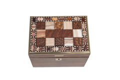 Tiled Lid of an Antique General Purpose Wooden Box. Lid with ornamental tiles of a vintage wooden box stock photos