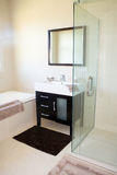 Tiled Modern Bathroom Interior. A modern tiled bathroom interior with a black and white vanity, glass shower and bathtub Stock Image