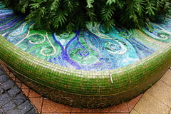 Tiled Mosaic on Park Bench Royalty Free Stock Photo