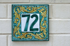 Tiled number seventy two sign for home Stock Image