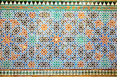 Tiled oriental mosaic wall in the Royal Alcazars of Seville, Spa Royalty Free Stock Images