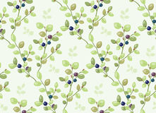 Tiled pattern with blueberry bushes Stock Photos
