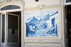 Tiled picture of Maderian Life in  the centre of Funchal on the Island of Madiera Stock Images