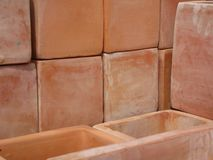 Tiled plant pots Royalty Free Stock Images